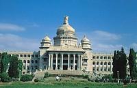 Facade of government building, Bangalore, Karnataka, India
