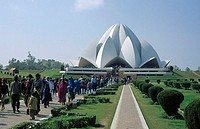 Tourists at temple, Lotus Temple, New Delhi, India