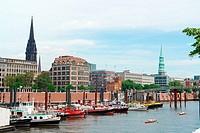 Boats at harbor, Hamburg Harbour, Hamburg, Germany