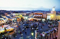 Aerial view of people at market, Djemma El Fna Square, Marrakesh, Morocco