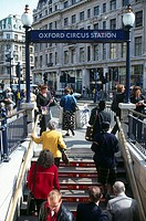 People at entrance of subway station, Oxford Circus, London, England