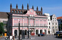 Facade of town hall, Mecklenburg_Western Pomerania, Germany