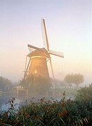 Kinderdijk, windmill at sunrise UNESCO World Heritage Site