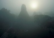 Silhouette of temple number 5 in the early morning at the site of Tikal in Guatemala