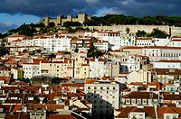 Old town and Castelo de S&#227;o Jorge in background, Lisbon. Portugal