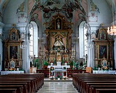 geography / travel, Germany, Bavaria, Bad Toelz, churches, Muehlfeld church, built 1735-1737, interior view, high altar, Europe, Upper Bavaria, Tolz, ...