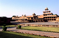 geography / travel, India, Fatehpur Sikri, buildings, Royal Palace, with Panch Mahal, palace with five floors, exterior view, 16th century, built unde...