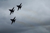 The Navy´s Blue Angels using F-18 Hornet jet fighters at an airshow