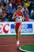 Kristiansen, Ingrid, * 21 3 1956, Norwegian athlete athletics, full length, europe championship, Stuttgart, 1986, racer, gold medal winner, 10000 mete...