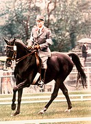 Chammartin, Henri, * 1918, Swiss athlete equestrianism, full length, Olympic Games, Tokyo, 1964, dressage, gold medal winner, horse, sport,