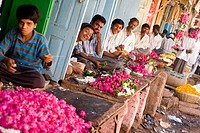 A raw of flower shops in Bidar. All of those will be used inside temples in Bidar