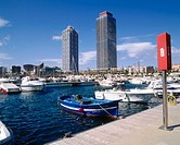 Olympic port, Mapfre tower and Hotel Arts. Barcelona. Catalonia, Spain