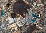 Brasilia, Brazil, satellite image  North is at top, water is blue and urban areas are grey  Brasilia is located in the Brazilian Federal District with...