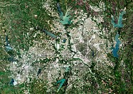 Dallas, Texas, USA, satellite image  North is at top, water is blue, urban areas are grey and vegetation is green  Northeast of Dallas is Lake Highlan...