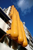 Four orange tubes at frontside of building, Rotterdam, Holland, Netherlands