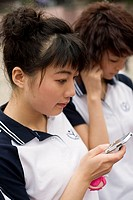 Female student using her cell phone