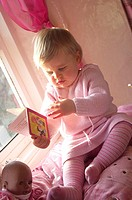 Girls, picture-book, sill, look at sits, people, child, toddler, 1-2 years, blond, quite-bodies, indoors, at home, nurseries, playrooms, reading-corne...