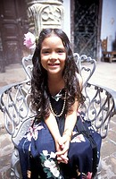 Cuba, Holguin, Casa de la Cultura, culture-festival, girls, sits, cheerfully, no models festival, culture, child, long-haired, release, Central Americ...