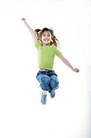 Girls, cheerfully, air-jump, series, people, child, 7 years, brunette, long-haired, jump, joy, jubilation, omitted, enjoyments, fun, happily, movement...