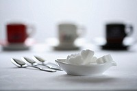 Coffee-cups, foreground, peel, die-sugar, coffee-spoon, cups, Espressotassen, differently-colorfully, spoon, sugar, food, sweeteners, white-sugar, kno...
