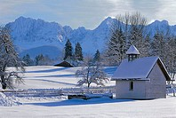 Germany, waiter-Bavaria, Gerold, chapel, gaze Karwendel, winters, Bavaria, development-rock, winter-landscape, church, snow-covered, gotten snowed in,...