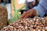 Spain, La Linea, market, booth, snails, sales associate, detail