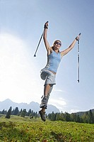 Woman, young, sport, fitness, Nordic Walking, cheerfully, devilment, fun, jump, meadow, 20-30 years, highland-shaft, nature, leisure time, activity, h...
