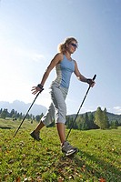 Woman, young, sport, fitness, Nordic Walking, 20-30 years, highland-shaft, nature, leisure time, activity, hobby, movement, balance, outside, fat-comb...