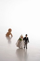 Toy-figures, wedding-pair, background, baby-doll, bare, people, figures, pair, baby, symbol, wedding anniversary, wedding, future, luck, solidarity, l...