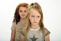 Girls, two, dispute, semi-portrait, series, people, children, 6-13 years, siblings, sisters, consecutively, dispute, sorrowfully, skeptically, thought...