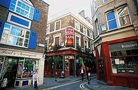 Great Britain, England, London, city Street, businesses, restaurants, pedestrians, capital, alley, Carter Lane, Creed Lane, houses, pubs, gas-places, ...