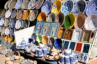 Tunisia, Djerba, Guellala, souvenir-business, earthenware, detail, coast-village, potter-village, buildings, arcade, business, souvenir-sale, souvenir...