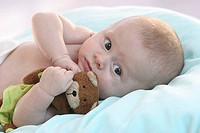 Lies baby, bed, Kuscheltier, holds, detail, series, people, 8 weeks, child, infant, upper bodies freely, toy, material-animal, holds, childhood, innoc...