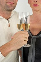Couple celebrating with sparkling wine