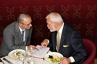 Two businessmen having a business lunch