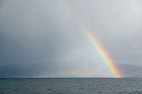 Rainbow over the sea, Hebrides Islands, Scotland, UK