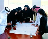 Arab businesspeople looking at architectural sketches (thumbnail)