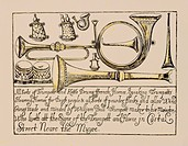 music, instruments, wind instruments, business card of an instrument builder, London, 2nd half 18th century, advertisinf, trumpets, trumpet, horn, hor...