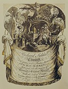 alchemy, alchemists, business card of the chemist Richard Siddall, Copper engraving by L. Clee, Great Britain, 2nd half 18th century, laboratory, alch...
