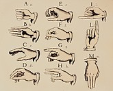 medicine, deaf persons, sign language, alphabet, letters A _ M, hand positions, engraving, coloured, Great Britain, circa 1830, historic, historical, ...