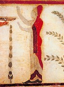 fine arts, ancient world, Etruscans, painting, goddess or priestess, Tomba del Barone, Tarquinia, circa 500 BC, Etruria, fresco, religion, people, tom...