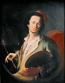 fine arts, Asam, Cosmas Damian 1686 _ 1739, painting, self_portrait, 18th century, oil on canvas, Bavarian National Museum, Munich, German, Bavarian B...