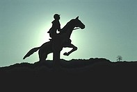 Silhouette of a person riding horseback