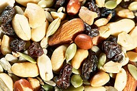 Close-up of dried fruit and assorted nuts