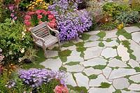 High angle view of a chair in a formal garden, Washington, USA