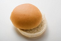 A hamburger bun, split