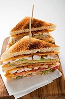 Chicken club sandwiches, toasted