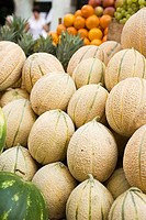 Cantaloupe melons at a market