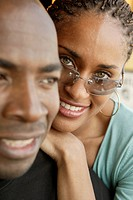 Close up of African couple smiling