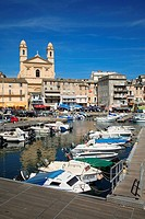 Port of Bastia and Church Saint Jean Baptiste, Corsica, France